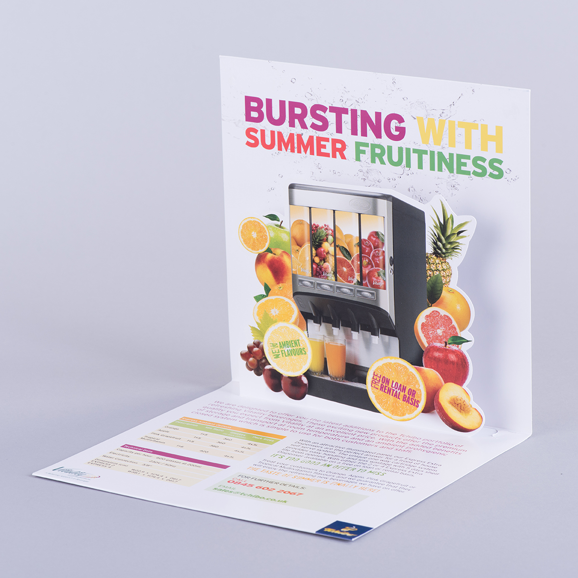 Fruit Products Mail: V Style Pop Up Card